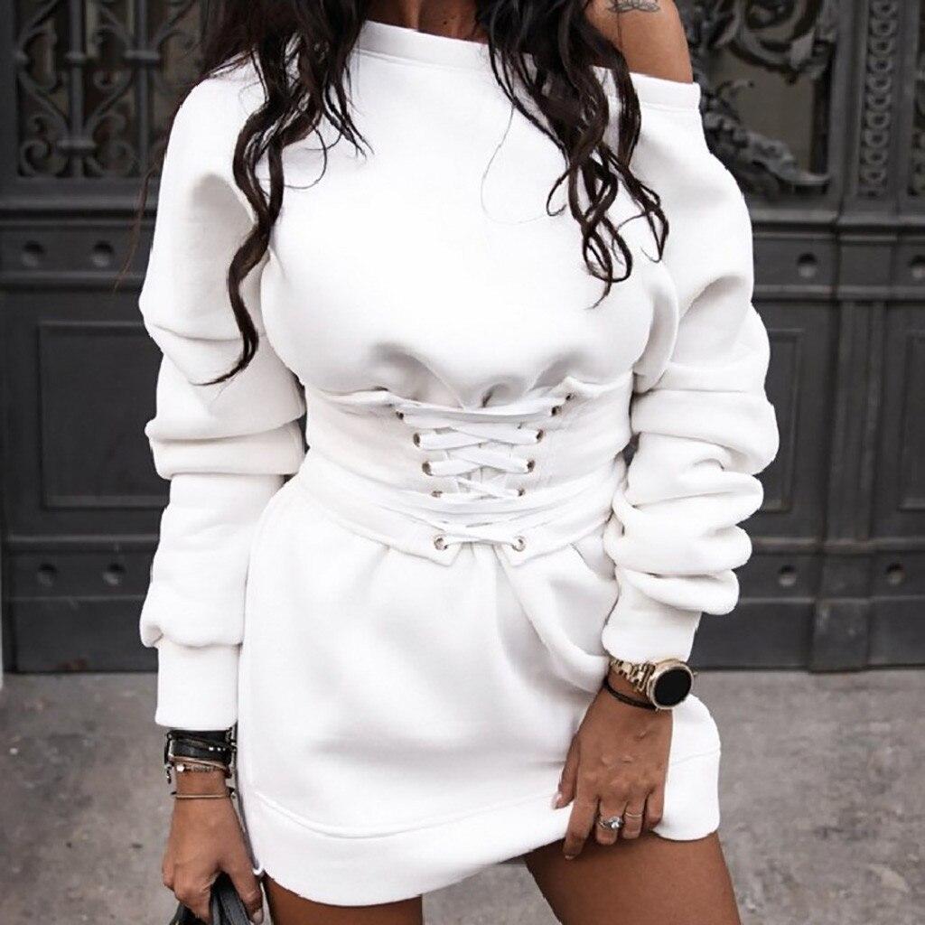 Robe épaisse Hiver femmes col rond à manches longues polaire + ceinture 88