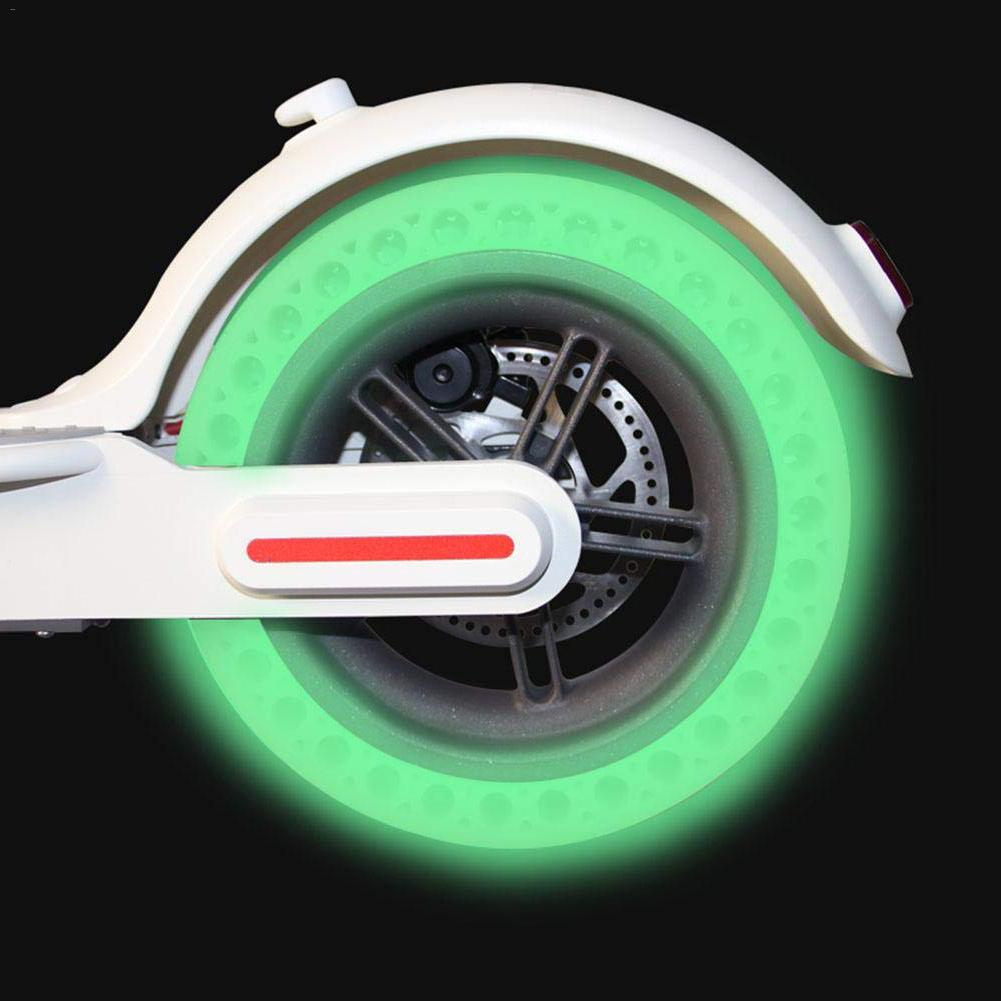 Fluorescent For Xiaomi Mijia M365 Scooter Skateboard Tyre Solid Hole Tires Luminous Shock Absorber Damping Rubber Tyres Wheels
