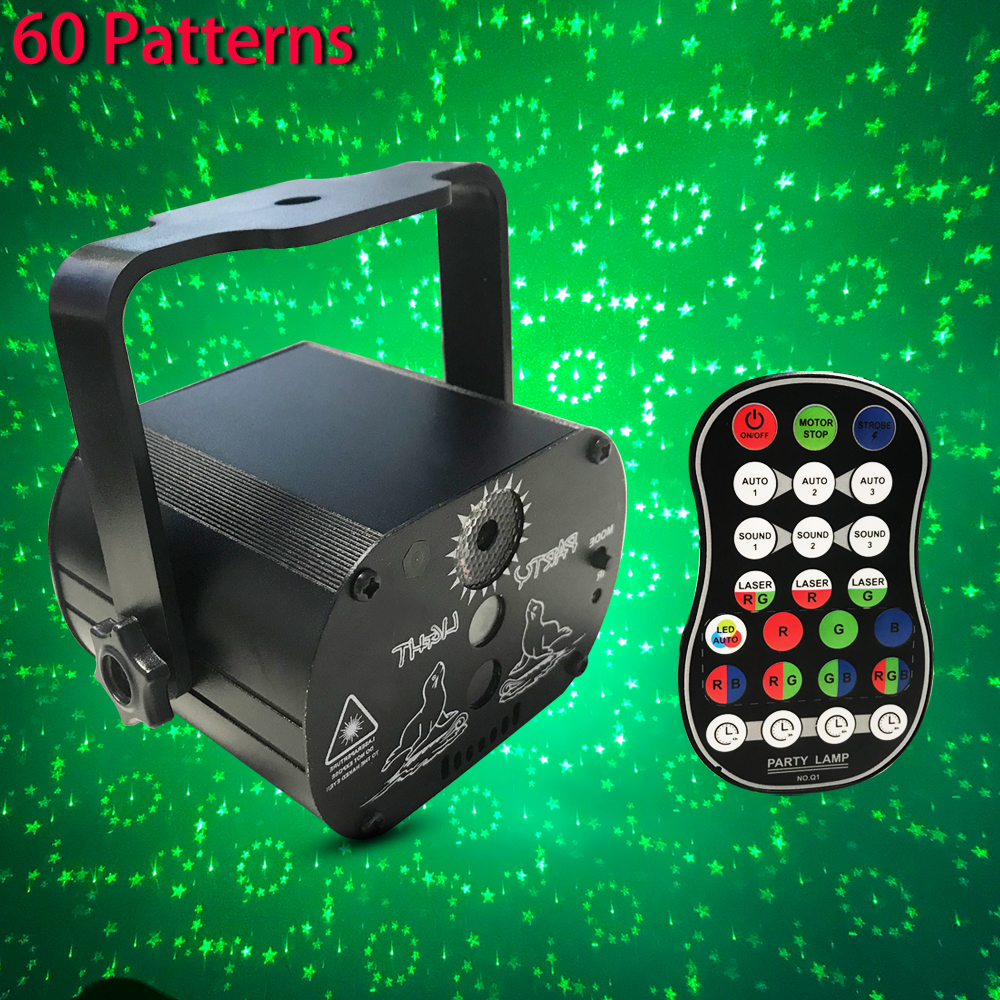 Led Disco Light Voice Control Music Laser Projector Lights 60 Patterns RGB Stage Lights Effect Lamp Party Show With Controller