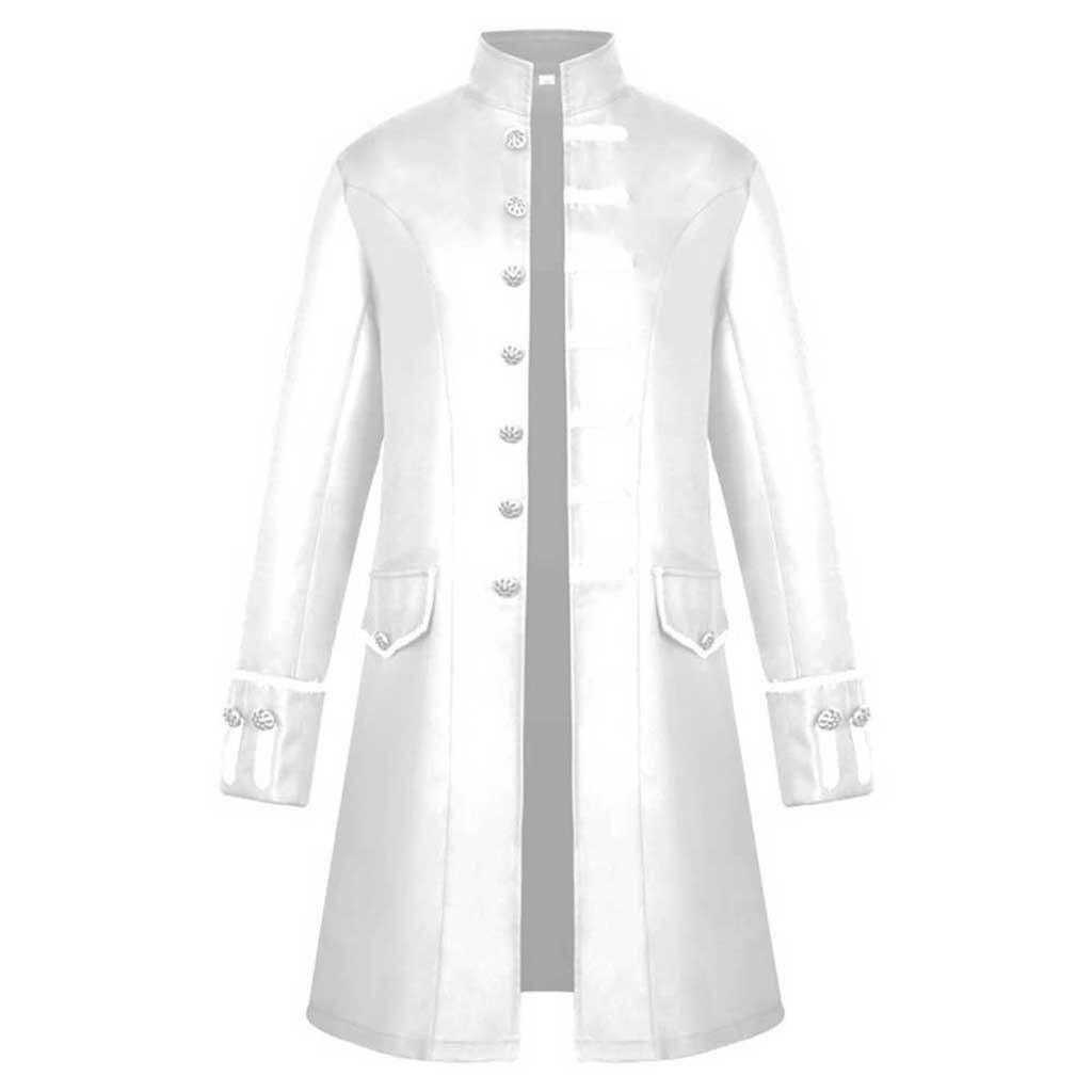 H84e433bf3c784b629d29971b2e319b27E Men Trench Coat Steampunk Jacket Medieval Costume Men Long Sleeve Gothic Brocade Jacket Frock Vintage Stand Collar Men's Coat