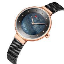CURREN Ladies Watch Top Brand Luxury Casual Wrist Watches Black Stainless Steel Quartz Creative Dial Relojes Para Mujer