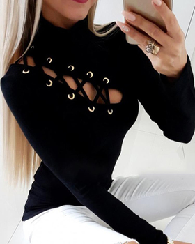 Women Elegant Fashion Black Blouse Female Top Casual Long Sleeve Cut Out Casual Blouse Eyelet Lace-up Hollow Out Blouse cut out sleeve plain top