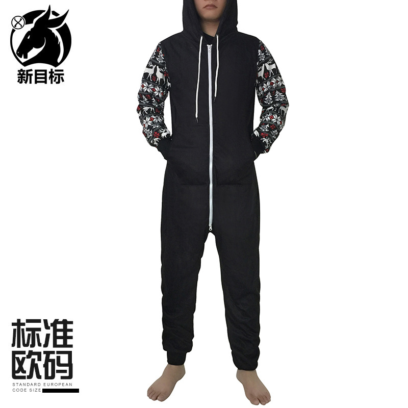 Joint Christmas Element Long Sleeve Plus Velvet Onesie 2019 Winter Thick Creative Couples Hooded Pajamas