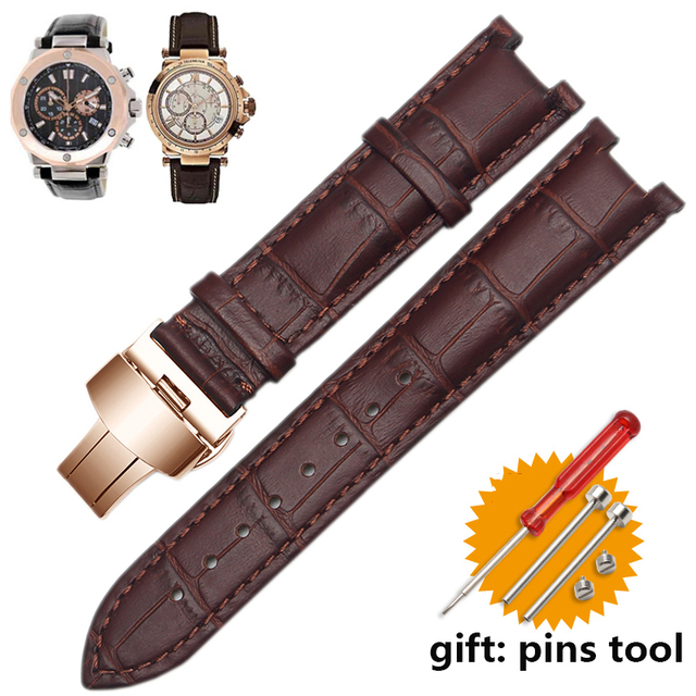 Bracelet de montre en cuir véritable pour bracelet GC, 22*13mm 20*11mm, avec boucle papillon, en acier inoxydable