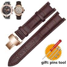Correa de reloj de cuero genuino para pulsera GC, 22*13mm 20*11mm, con hebilla de mariposa de acero inoxidable