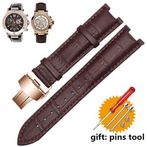 Image 1 - Echtes leder armband für GC armband 22*13mm 20*11mm Kerb strap withstainless stahl schmetterling schnalle