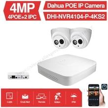 Dahua 4MP 4+2/4 Security Camera System 4MP IP Camera IPC-HDW4433C-A 8CH POE NVR4104-P-4KS2 Surveillance P2P System Remote View original dahua 4mp ipc hdbw4421r as ip network camera support poe