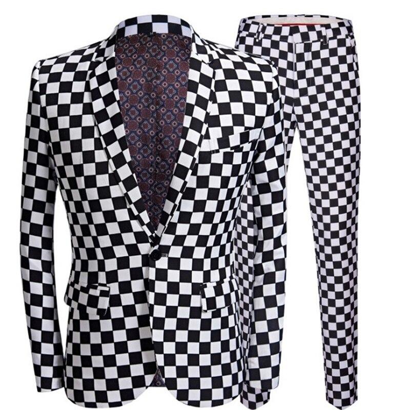 2020 New Men's Fashion Suit Black White Plaid Print 2 Piece Jacket Coat Pants Design Wedding Stage Singer Slim Fit Clothing