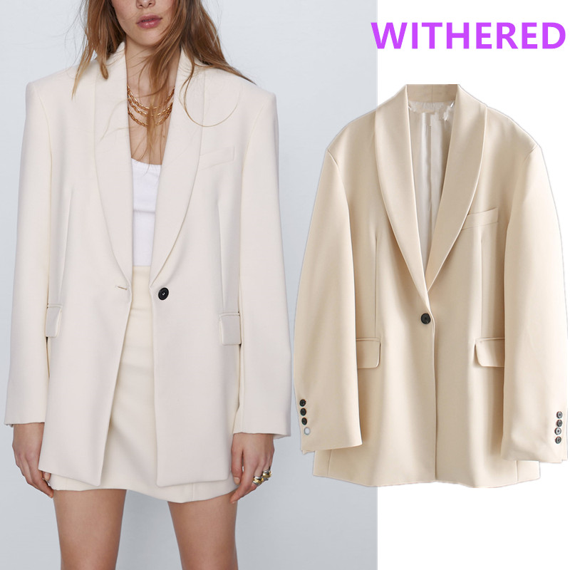 Withered England Office Lady Vintage Oversize Beige Blazer Feminino Blazer Women Blazer Mujer 2020 Women Blazers And Jackets Top