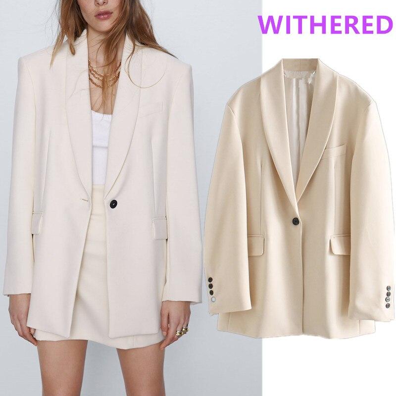 Withered England Office Lady Vintage Oversize Beige Blazer Feminino Blazer Women Blazer Mujer 2020 Women Blazers And Jackets Top