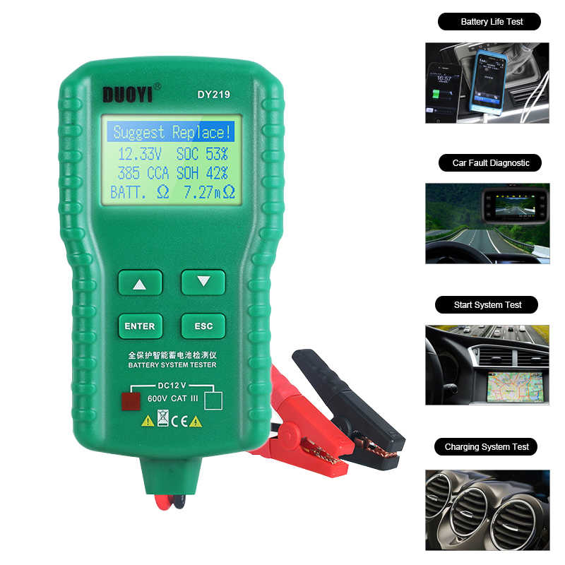 DY219 12V Car Battery Tester AH CCA Voltage Battery Load Analyzer Tester Digital Automotive Multifunction Diagnostic Tool Mini