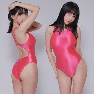 Image 4 - LEOHEX 2020 Sexy Leotards Satin Glossy Bodysuit High Cut One Piece Swimwear Women Glitter Shiny Bathing Suits Female Swimsuit