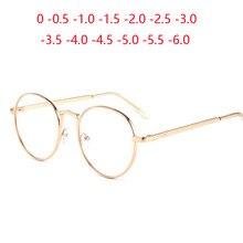 Rose Gold Rahmen Oval Myopie Brille Fertigen Frauen Männer Metall Student Kurzsichtig Gläser 0-0,5-1,0-1,5 zu-6,0