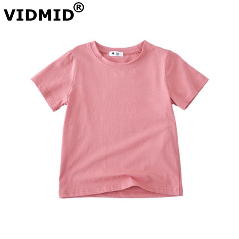 VIDMID Children T-shirt Baby Boys Girls Cotton Short Sleeves Tops Tees Clothes T-shirt Kids Summer Solid Color Clothing  4006