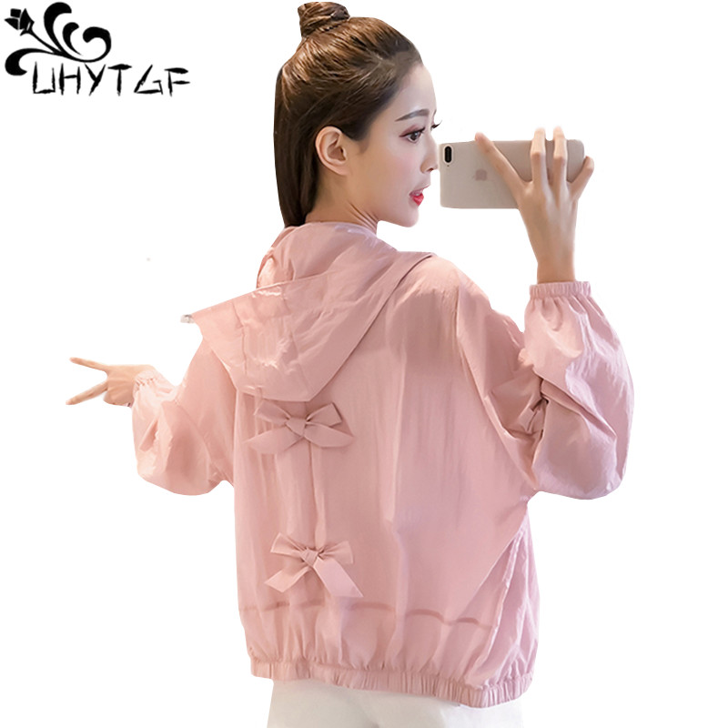 UHYTGF Summer Jacket Women Fashion Bow Sun Protection Clothing Thin Tops Coat Loose Oversized Hooded Breathable Student Outwear9