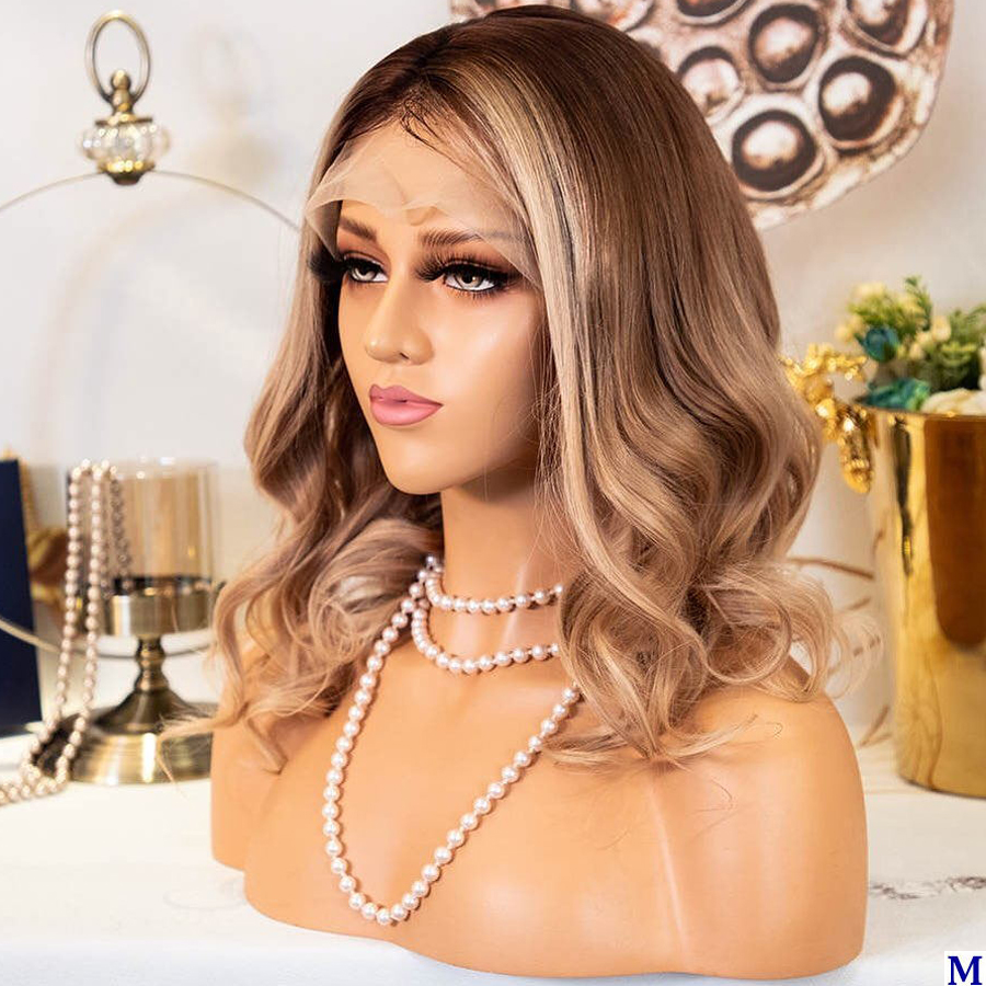 Eversilky Short Bob Ombre 3T 13x6 Lace Front Wigs With Baby Hair 150Density Blonde Body Wave Glueless Full Lace Wigs For Women