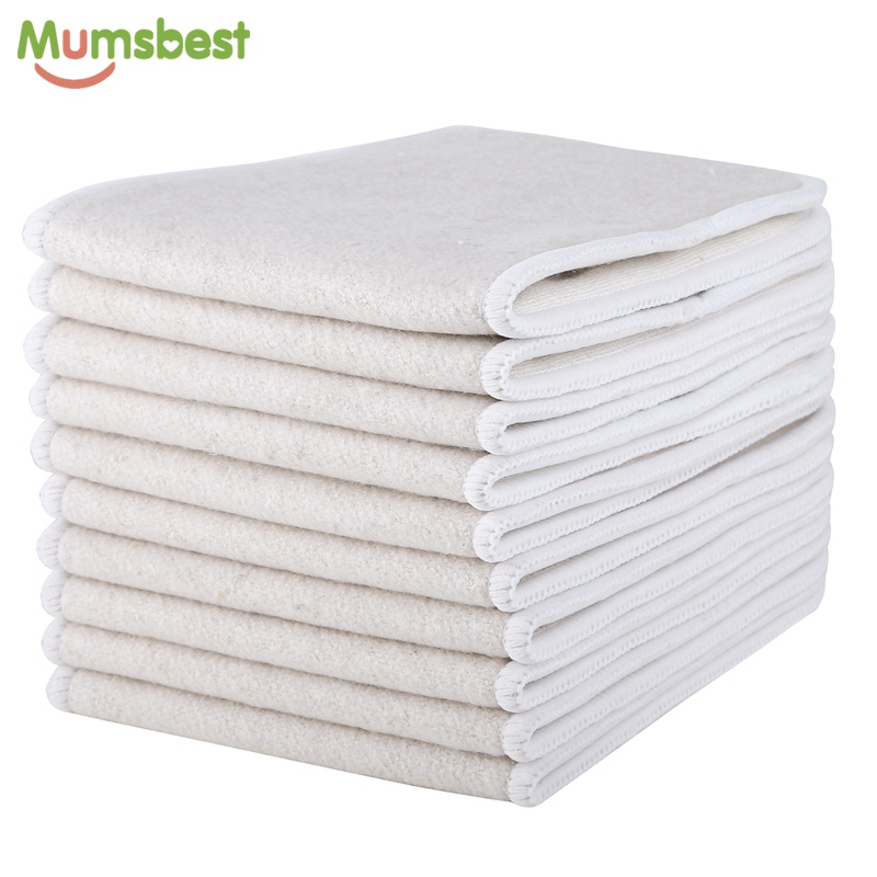 10pcs Hemp & Organic Cotton  Inserts 4 Layers Reusable Insert For Baby Cloth Diaper Babies Nappy Inserts Size: 14x35CM