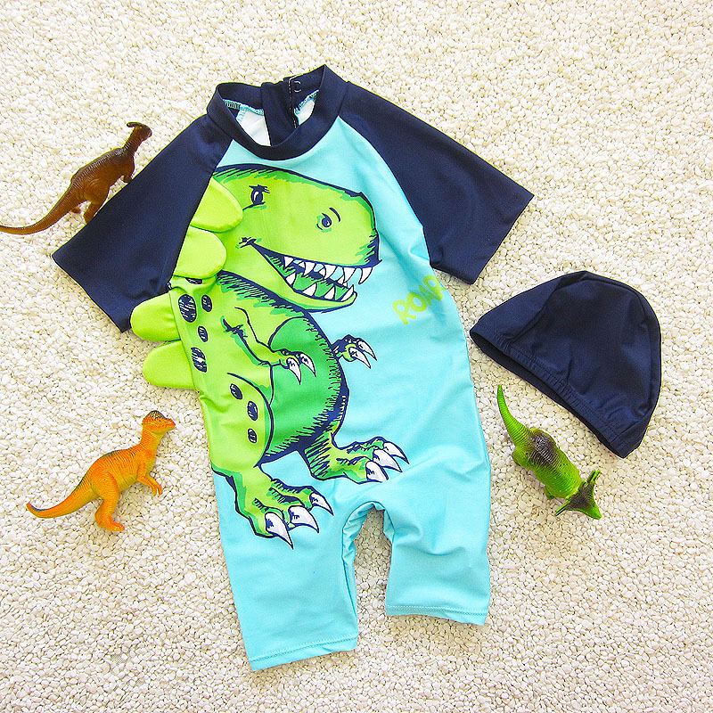 Cute Cartoon Students Korean-style Medium And Small Male Baby Hot Springs One-piece Boxer Infants CHILDREN'S Swimwear With Hat