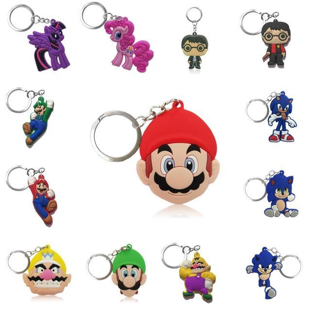 100pcs Cartoon Figure Super Hero Key Chain PVC Anime Key Ring Kids Toy Pendant Keychain Hulk Key Holder Xmas Gift