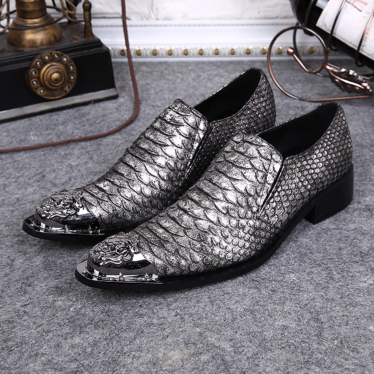 New Men's Designer Snake Pattern Men Formal Shoes Genuine Leather Wedding Dress Shoes Office Classic Business Oxford Shoe - 6