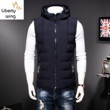 Plus Size 8XL Winter Hoodies Vest Men Casual Loose Fit Warm Sleeveless Male Coats Jackets Harajuku Zip Outwear Black Dark Blue(China)