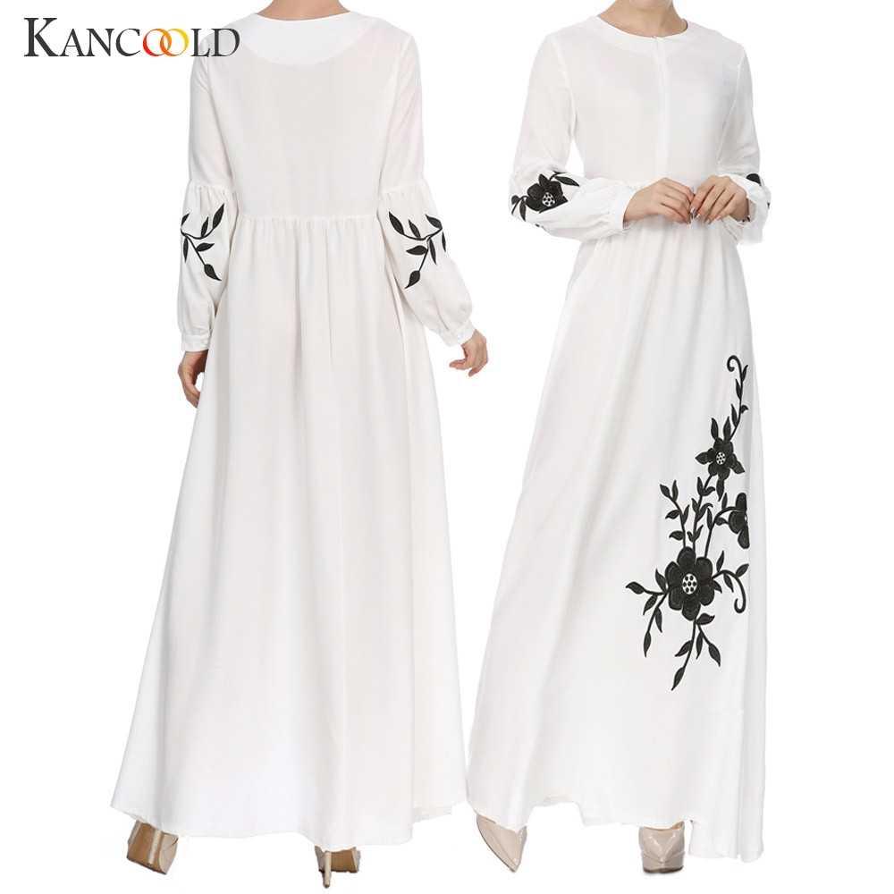 Kancoold 여자 이슬람 쉬폰 긴 소매 긴 맥시 드레스 빈티지 드레스 kaftan 두바이 이슬람 의류 abayas 여성을위한