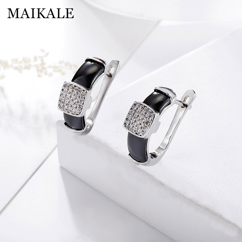MAIKALE Classic Simple Stud Earrings Square Cubic Zirconia Copper And Ceramic Earrings Plated Gold Earing For Women Gift