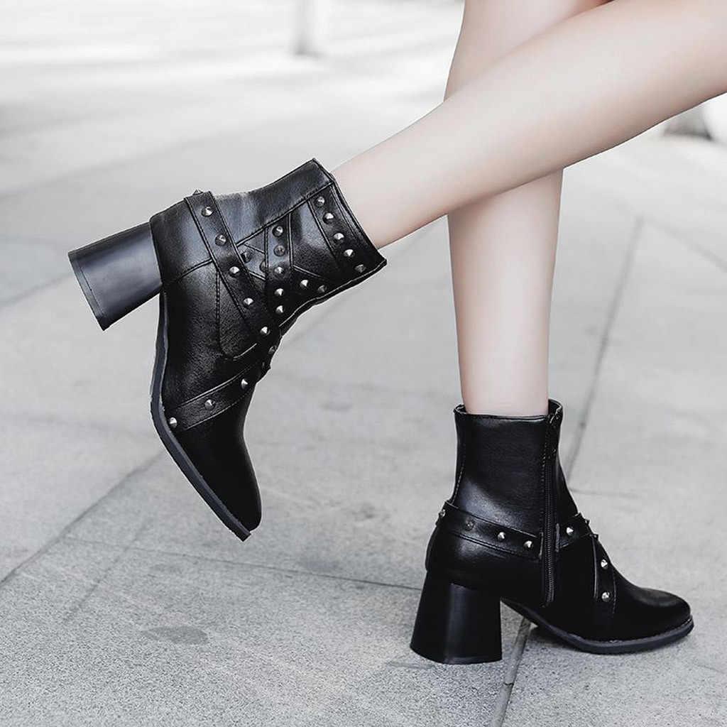Cowboy laarzen voor vrouwen herfst enkellaars Vierkante Hak vrouw 2019 winter laarzen vrouwen waterdichte zwarte laarzen vrouwen hak # g3