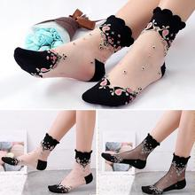 1 Pair Mesh Flowers Summer Super Thin Retro Comfortable Women Socks Anti Skid Fashion Soft Cotton Lace Elastic Sexy Shorts