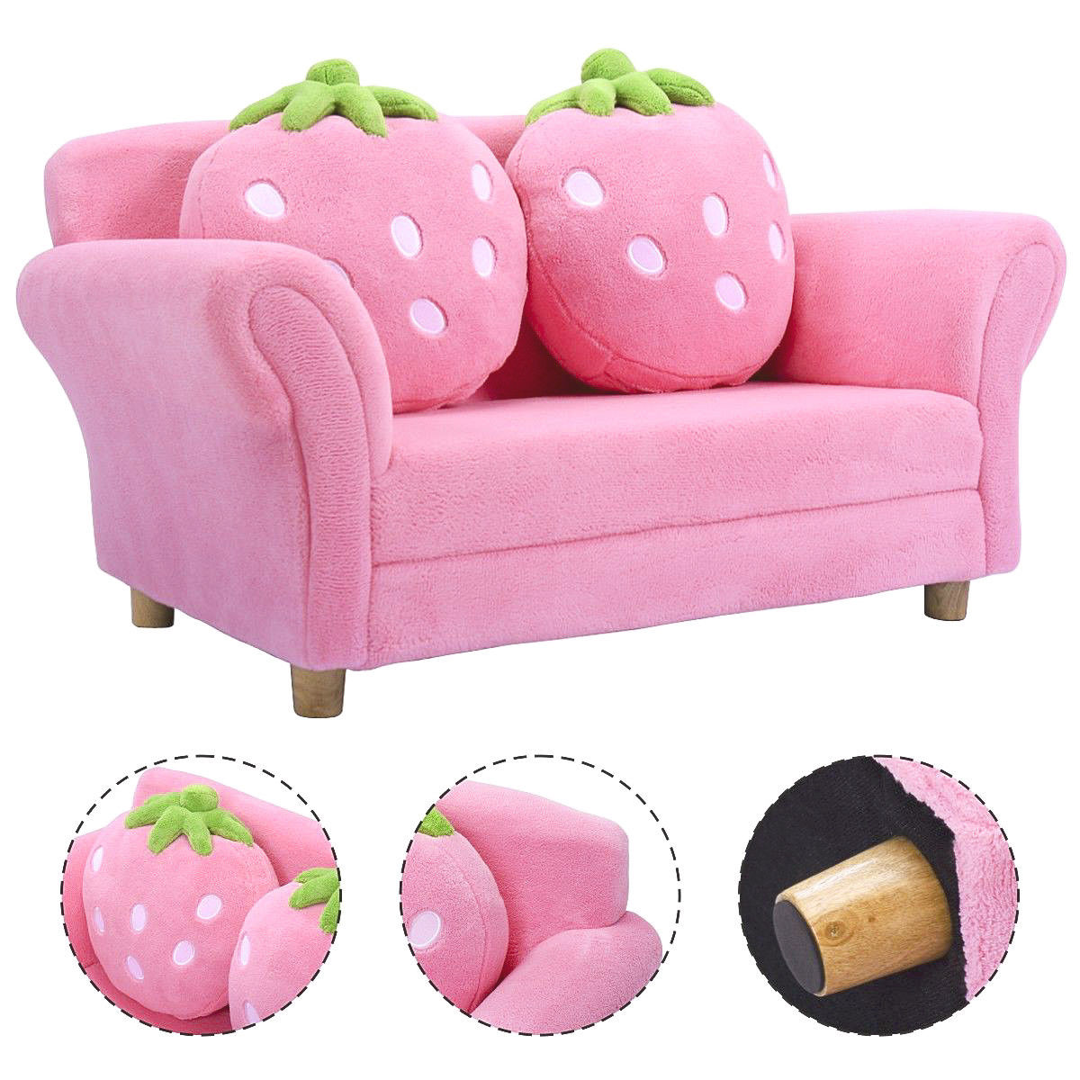 Costway Kids Sofa Strawberry Armrest Chair Lounge Couch W/2 Pillow Children Toddler Pink