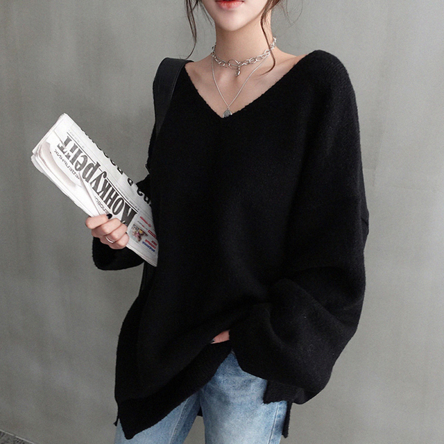 Ailegogo Women V-neck Sweater Loose Fit Autumn Winter Warm Casual Knitted Tops Female Long Solid Color Knit Pullovers 3