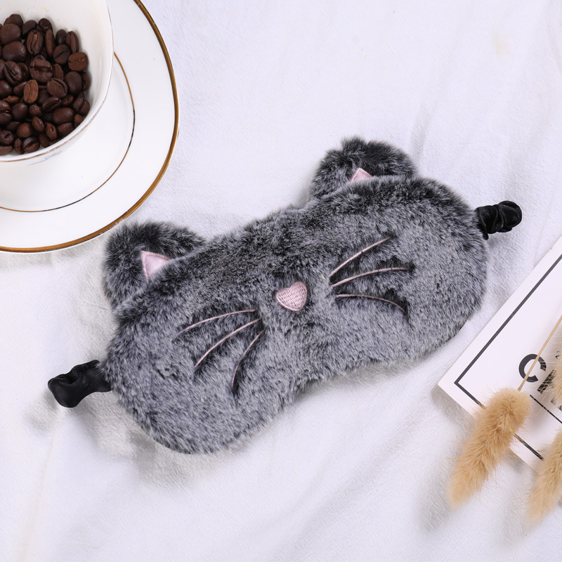 Plush Cute Grey Cat Long Ear Rabbit Eye Mask Sleeping Mask Eye Shade Cover Blindfold Goggles Eyeshade Eyepatch Travel Home Gift