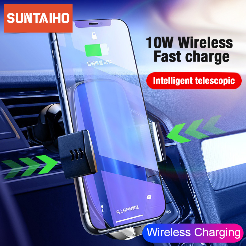 Suntaiho Qi Car Wireless Charger for iPhone XR XS Max X Samsung S8 Note 10 Quick Wireless Car Charging Mount Mobile Phone Holder|Car Chargers| |  - title=