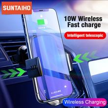 Suntaiho Qi Car Wireless Charger for iPhone XR XS Max X Samsung S8 Note 10 Quick Wireless Car Charging Mount Mobile Phone Holder