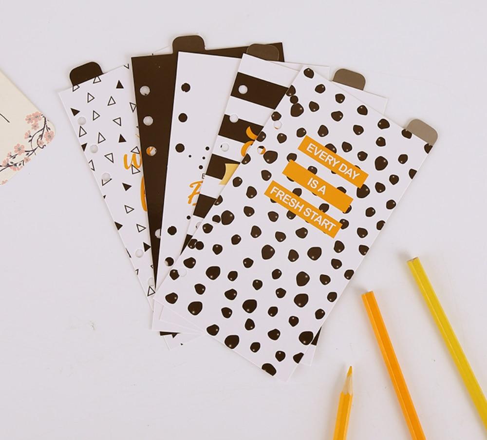 5 Sheets Black White Dots Separator Separation Divider A5  Loose Leaf Index Paper Category Page For Notebook Bullet Journal