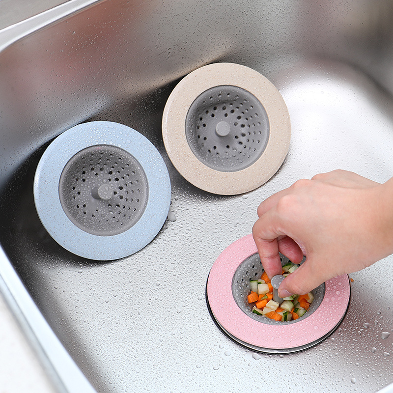 1pcs Kitchen Filter Silicone Wheat Straw Strainer Bathroom Shower Drain Sink Drains Cover Sewer Hair Filter