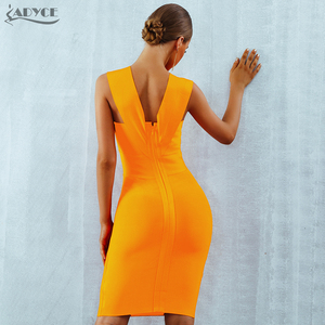 Image 3 - ADYCE Summer Women Bandage Dress Vestidos 2020 Red Orange Tank Sexy Deep V Neck Sleeveless Bodycon Celebrity Runway Party Dress