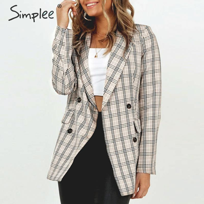 Simplee Vintage Plaid Women Blazer Coats Casual Buttons Pockets Autumn Winter Female Blazers Fashion Long Sleeve Ladies Blazers