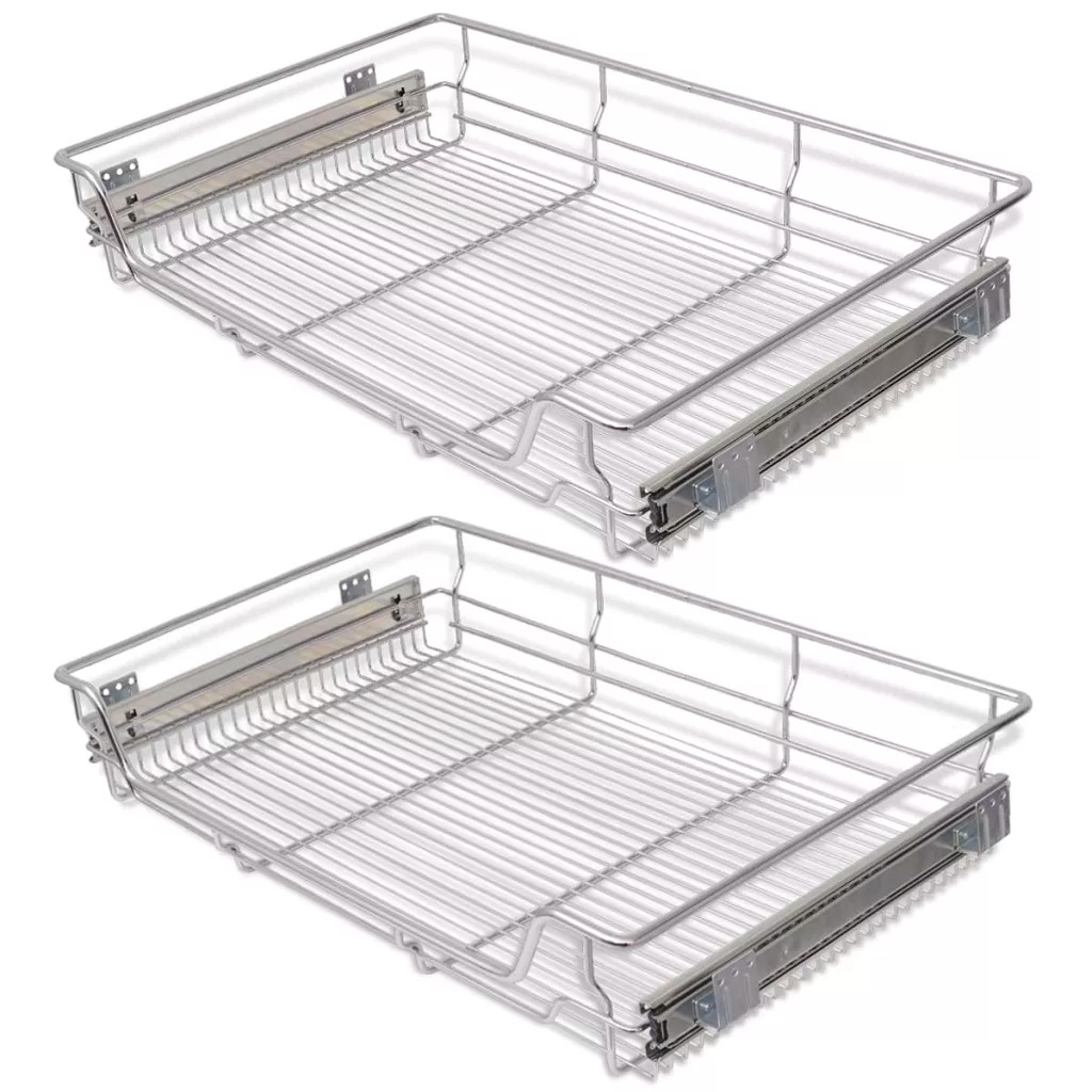 VidaXL Pull-Out Wire Baskets 2 Pcs Silver 800 Mm Rust Resistant Sturdy And Durable Removable Kitchen Racks Metal Basket Drawers