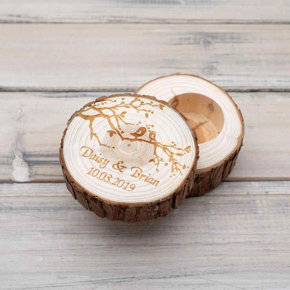 Rustic Wedding Ring Bearer Box Personalized Ring Box Wooden Ring