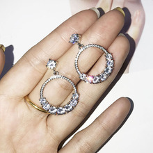 Fashion Female Crystal Round Drop Earrings With AAA Zircon 925 Sterling Silver Boho Wedding Jewelry Long Dangle