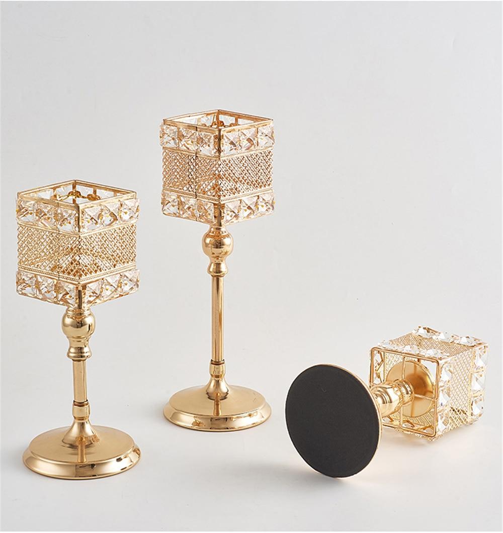 Metalni držač za svijeće Kristali za svijeće Stalak za vjenčanje - Kućni dekor - Foto 4