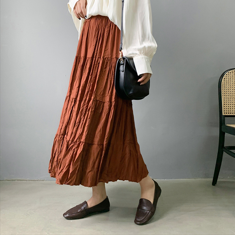 2020 New High Waist Pleated Women Summer Cotton Skirt Saia A-Line Women Pure Color Boho Long Skirt Faldas Jupe Femme