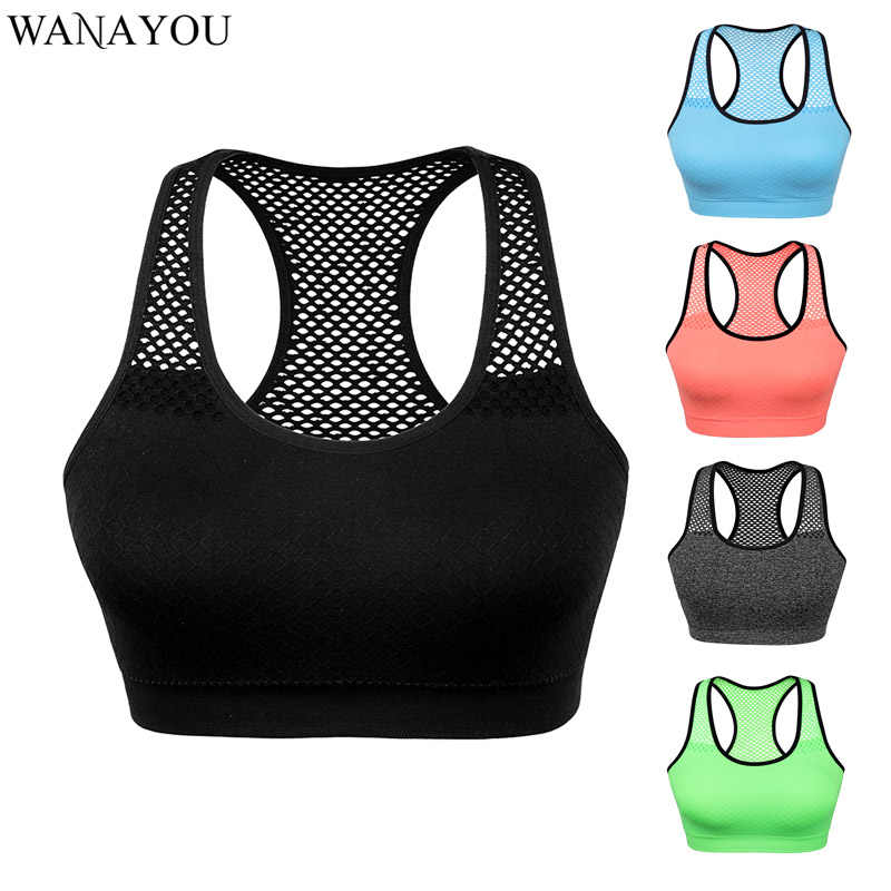 WANAYOU Atmungs Yoga Gym Top, Schnell Trocken Frauen Sport-Bh Top, Nahtlose Lauf Workout Crop Top, aushöhlen Yoga Hemd Tank Top