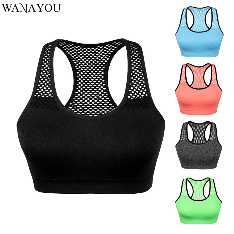 WANAYOU Breathable Yoga Gym Top,Quick Dry Women Sports Bra Top,Seamless Running Workout Crop Top,Hollow Out Yoga Shirt Tank Top(China)