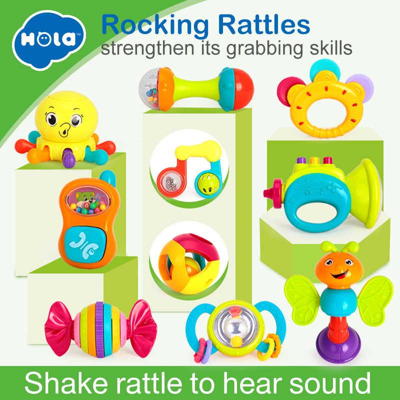 HOLA 939, детские игрушки, пластиковые, рукоять, Джингл, трясущийся колокольчик, рукопожатие, колокольчик, детские погремушки, игрушки для новорожденных, 0- 12 месяцев