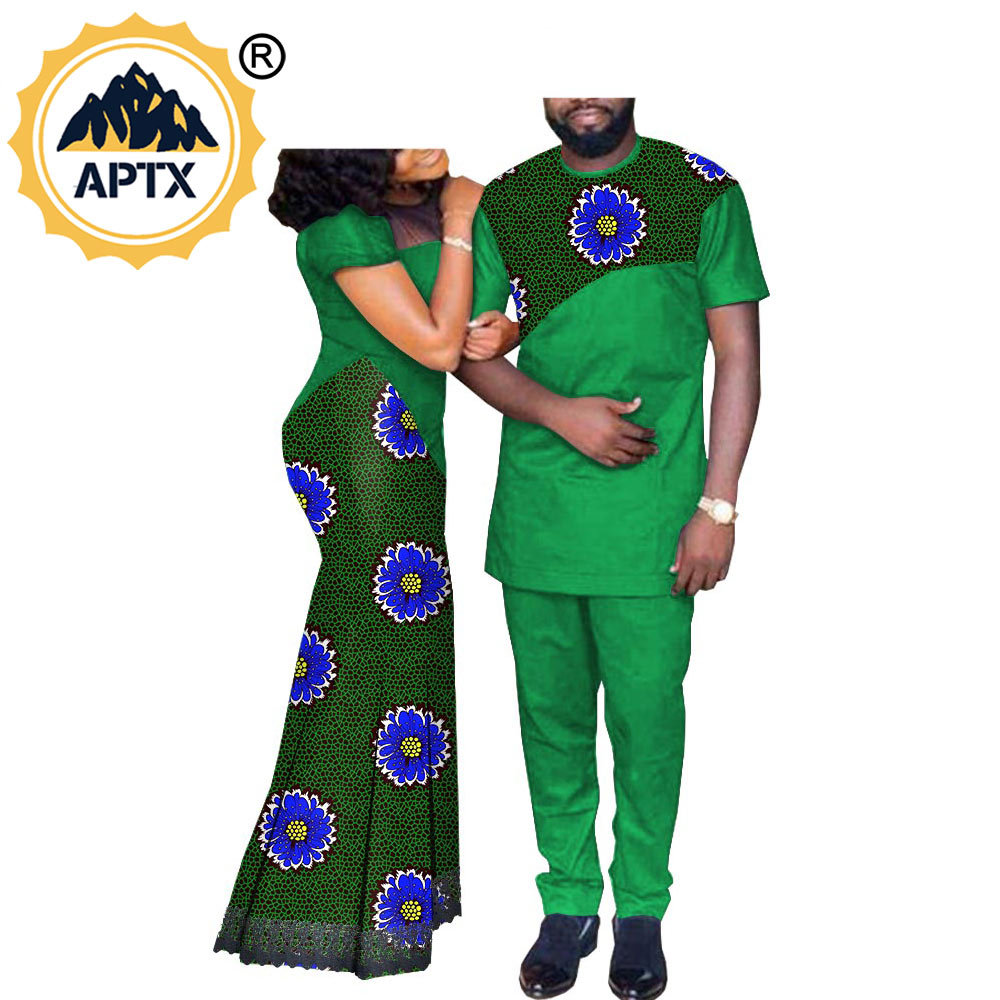 Family lovers Banquet CostumeAfrican Couple Clothes Women`s Long Maxi Dress and Men`s Tracksuit Dashiki Outfits Shirts and Pants