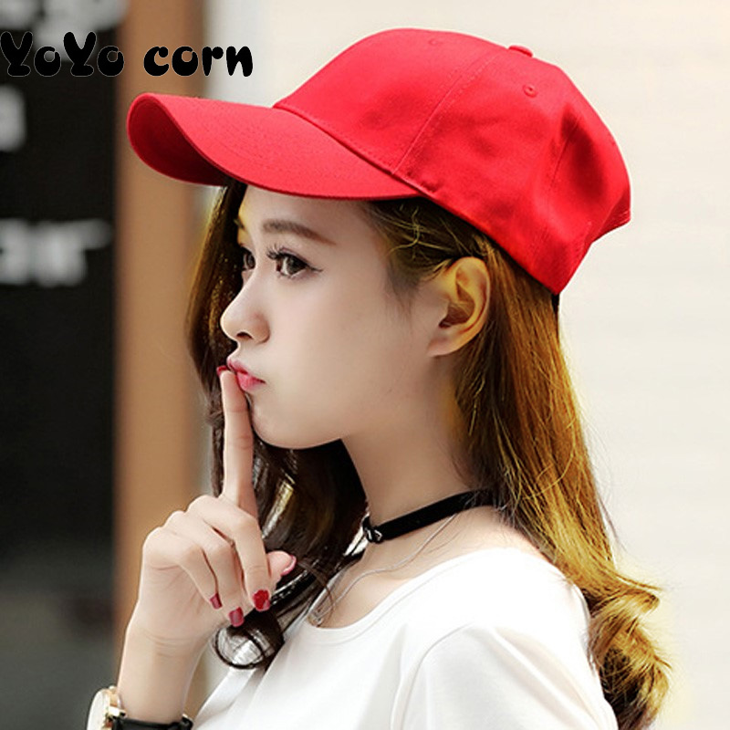 yoyocorn Spring models of solid color light   baseball     caps   along the hat men and women simple outdoor sunscreen female   cap