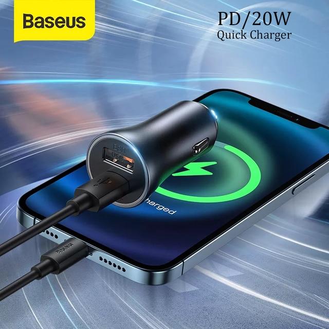 Baseus PD 20W USB Car Charger Quick Charge QC 4.0 3.0 Dual USB C Quick Charge Fast Charger For iPhone 12 Pro Max Xiaomi Huawei