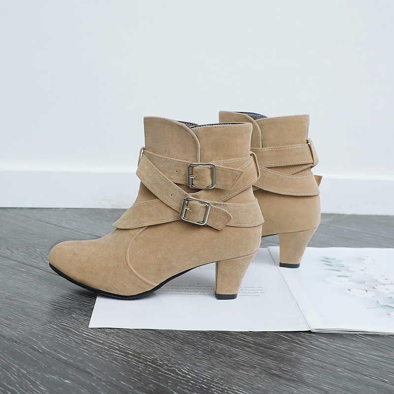 MEMUNIA Artı boyutu 34-43 Yeni kadın botları toka yüksek topuklu bayan botları ilkbahar sonbahar ayakkabı yarım çizmeler rahat ayakkabılar